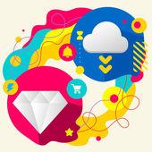 Diamond and cloud — Stockvector