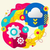 Cogwheel and cloud — Vecteur