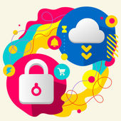 Lock and cloud — Stockvector