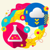 Laboratory flask and cloud — Stock Vector