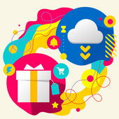 Gift box and cloud — Stockvector