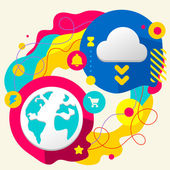 Planet and cloud — Stock Vector