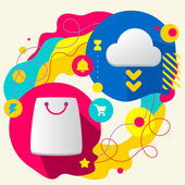 Shopping bag and cloud — Stock Vector