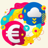 Euro sign and cloud — Stock Vector