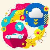 Sportbil och moln — Stockvektor