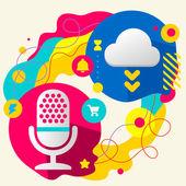 Microphone and cloud — Stok Vektör