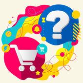 торговые тележки и вопросительный знак — Cтоковый вектор