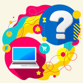 Laptop and question mark — Stock Vector