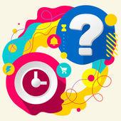 Clock and question mark — Vecteur