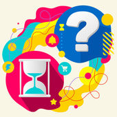 Hourglass and question mark — Stockvector