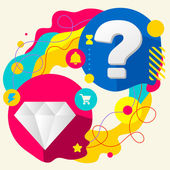 Diamond and question mark — Stock Vector