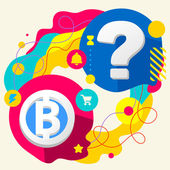 Bit coin and question mark — Stock Vector