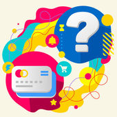 Bank cards and question mark — Stock Vector