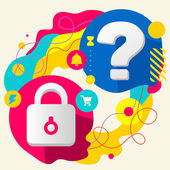 Lock and question mark — Stock Vector