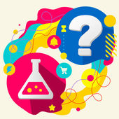 Laboratory flask and question mark — Stock Vector