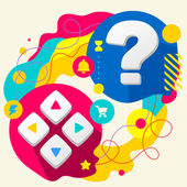 Joystick and question mark — Stock Vector