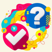 Tick and question mark — Stock Vector