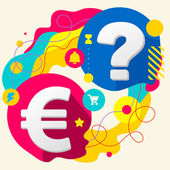 Euro sign and question mark — Stock Vector