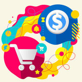 Shopping trolley and dollar sign — Stock Vector