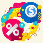 Per cento e il segno di dollaro — Vector de stock