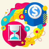 Hourglass and dollar sign — Stockvector