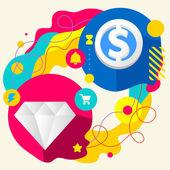 Diamante e segno di dollaro — Vettoriale Stock