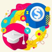 学术的帽子和美元符号 — 图库矢量图片