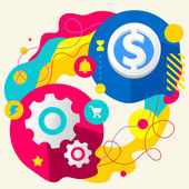 Cogwheel and dollar sign — Vetorial Stock