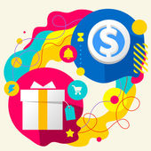 Gift box and dollar sign — Stock Vector