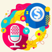 Microphone and dollar sign — Vettoriale Stock