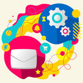Envelope and gears — Stock Vector