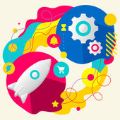Rocket and gears — Stock Vector