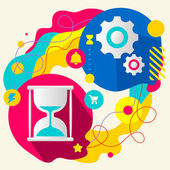 Hourglass and gears — Vector de stock