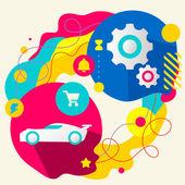 Sportovní vůz a zařízení — Stock vektor