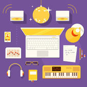 Workplace of musician. — Stock Vector