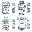 Set of vector detailed phones of the future with mechanical part — Stock Vector #49583277