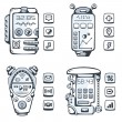 Set of vector detailed phones of the future with mechanical part — Stock Vector #49590773