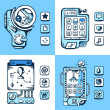 Set of vector detailed phones of the future with mechanical part — Stock Vector #49590915