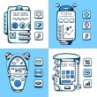 Set of vector detailed phones of the future with mechanical part — Stock Vector #49590919