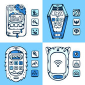 Set of vector detailed phones of the future with the mechanical  — Stock Vector