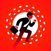 Vektor illustration office manager körs i en kostym, slips, glasögon — Stockvektor