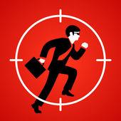 Vector illustration of a businessman runs at gunpoint — Stock Vector