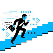 Vector illustration of a man running up the stairs with a briefc — Stock vektor