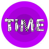 Bright vector illustration of the word time in techno style on a — Stock Vector