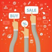 Hombre manos tramo curva a los botones para comprar, vender y perce — Vector de stock