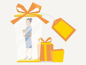 Vector illustration portrait of a woman manager keeps a folder w — Stock Vector