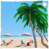 Summer beach by the sea, ocean — Cтоковый вектор