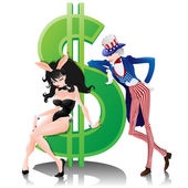 Uncle Sam, Bunny Girl and Dollar. — Stock Vector
