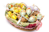 A lot of easter eggs in a basket — Stock Photo