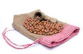 Hazelnuts and a nutcracker on a burlap bag — Stock Photo